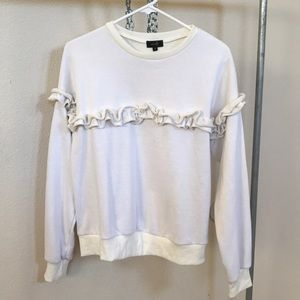 3x$20 WHITE RUFFLE GIRL SWEATSHIRT MEDIUM